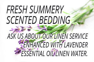 Fresh summery scented bedding... ask us about our linen service enhanced with lavender essential oil linen water.